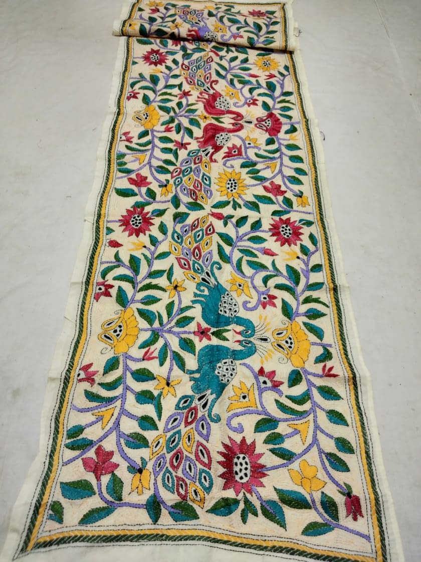 All over Nakshi Kantha Embroidery Tassor Stole: Buy online from Lajime.com